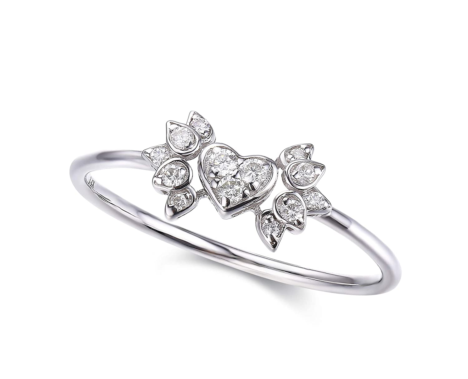 Heart Engagement Ring In Solid 18k White Gold Alternative Wedding Unique Angel Wing Diamond Simple Shaped Band: Simple Unique Wedding Rings At Reisefeber.org