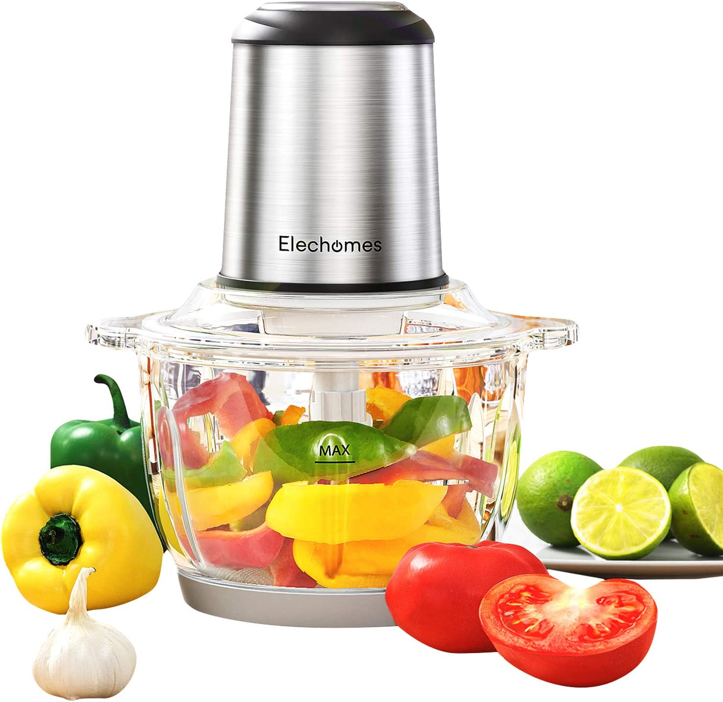 Electric Food Chopper & Meat Processor, Elechomes High Capacity 8-Cup BPA-Free Glass Bowl Blender Grinders for Onion Nuts, Clear Food Processing, 4 Detachable Dual Layer S-Blades with Protector, Stainless Steel Body, Free Bottom Anti-Slip Mat