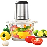 Electric Food Chopper & Meat Processor, Elechomes High Capacity 8-Cup Blender Grinders for Onion Nuts, Powerful 300W Motor&4 Detachable Dual Layer Tough Stainless Steel Blades,2L BPA-Free Glass Bowl, Visible Food Processing, Free Bottom Anti-Slip Mat