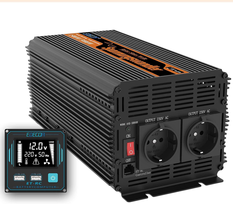 EDECOA inversor 12v 220v Onda Pura 1500w Transformador de Corriente Onda Pura con Mando a Distancia, USB y Pantalla LCD (1500w Nuevo Mando a Distancia)