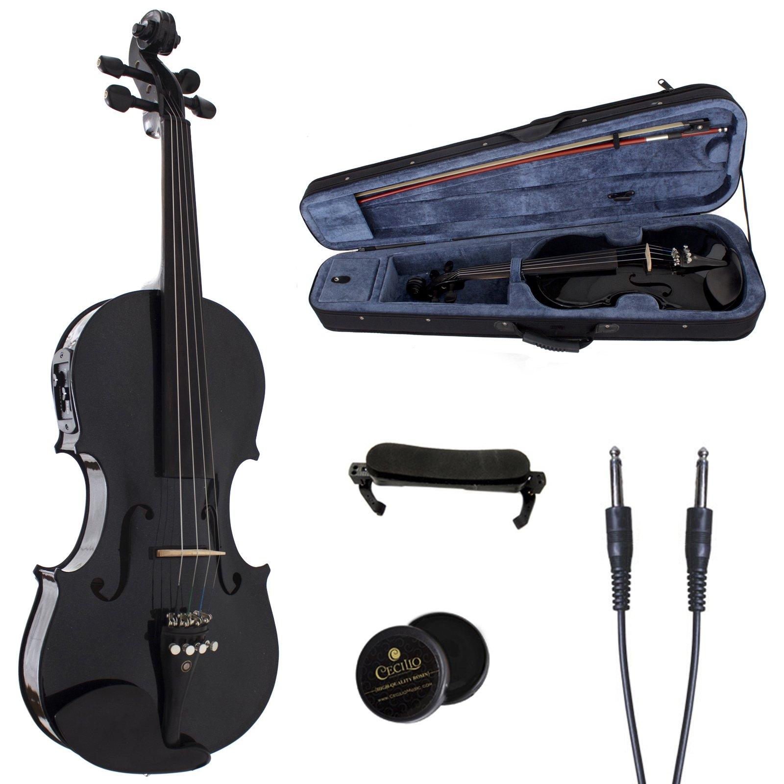 Cecilio 4/4 CVNAE-Black+SR Ebony Fitted Acoustic/Electric Violin in Metallic Black by Cecilio