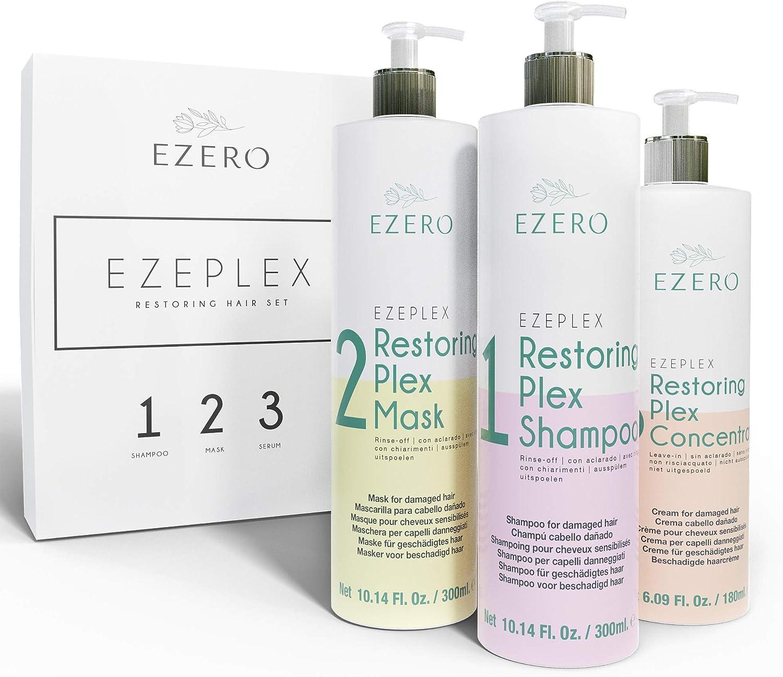 EZERO Tratamiento Plex con Champu, Mascarilla y Aceite Serum para Cabellos Dañados o Secos con Aminoácidos, Ácido Hialurónico, Manteca de Karité y ...
