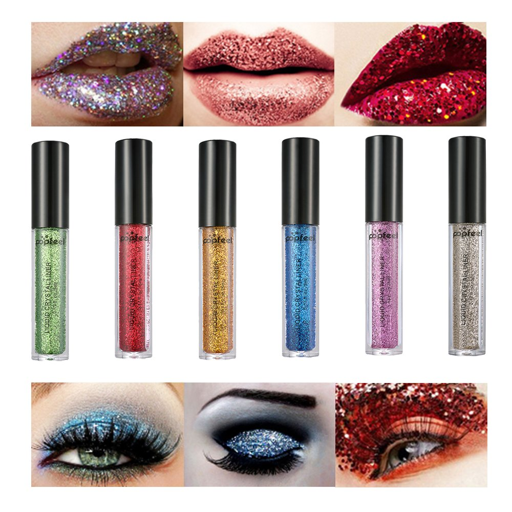 Glitter Liquid Eyeliner -High Glitter Liquid Eyeliner 6 Colors Set-Waterproof Sparkle Eyeshadow-Long Lasting Metallic Glitter Eyeliner Pen Shimmer Eye Shadow (6 Pcs, Glitter Eyeshadow)