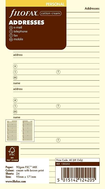 Filofax Personal - Recambio para agenda de anillas, agenda de contactos (nombre, dirección postal, dirección de correo electrónico, teléfono, fax y ...