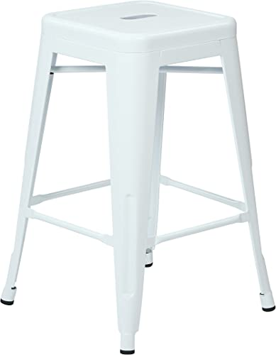 OSP Designs Patterson 24-inch Metal Backless Barstool, White, 2-Pack