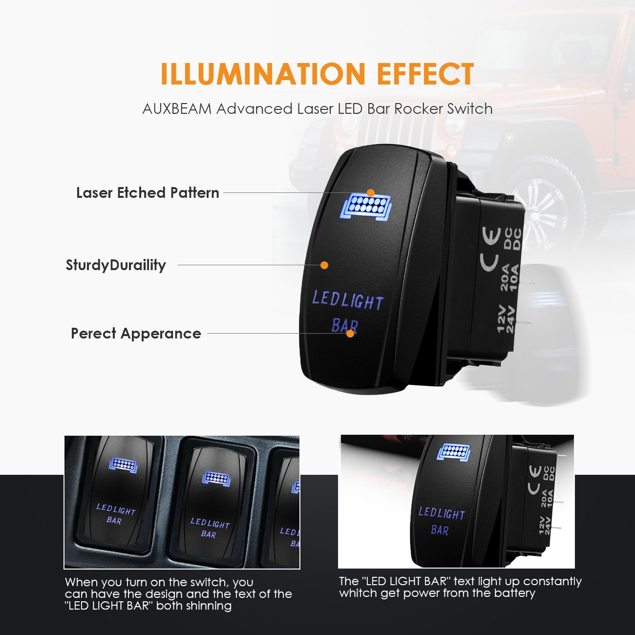 Auxbeam LED Light Bar Rocker Switch with Switching Lines for 12 / 24V Cars, Motorcycles, Buses, Boats, RVs, Trailers by Auxbeam (Image #5)