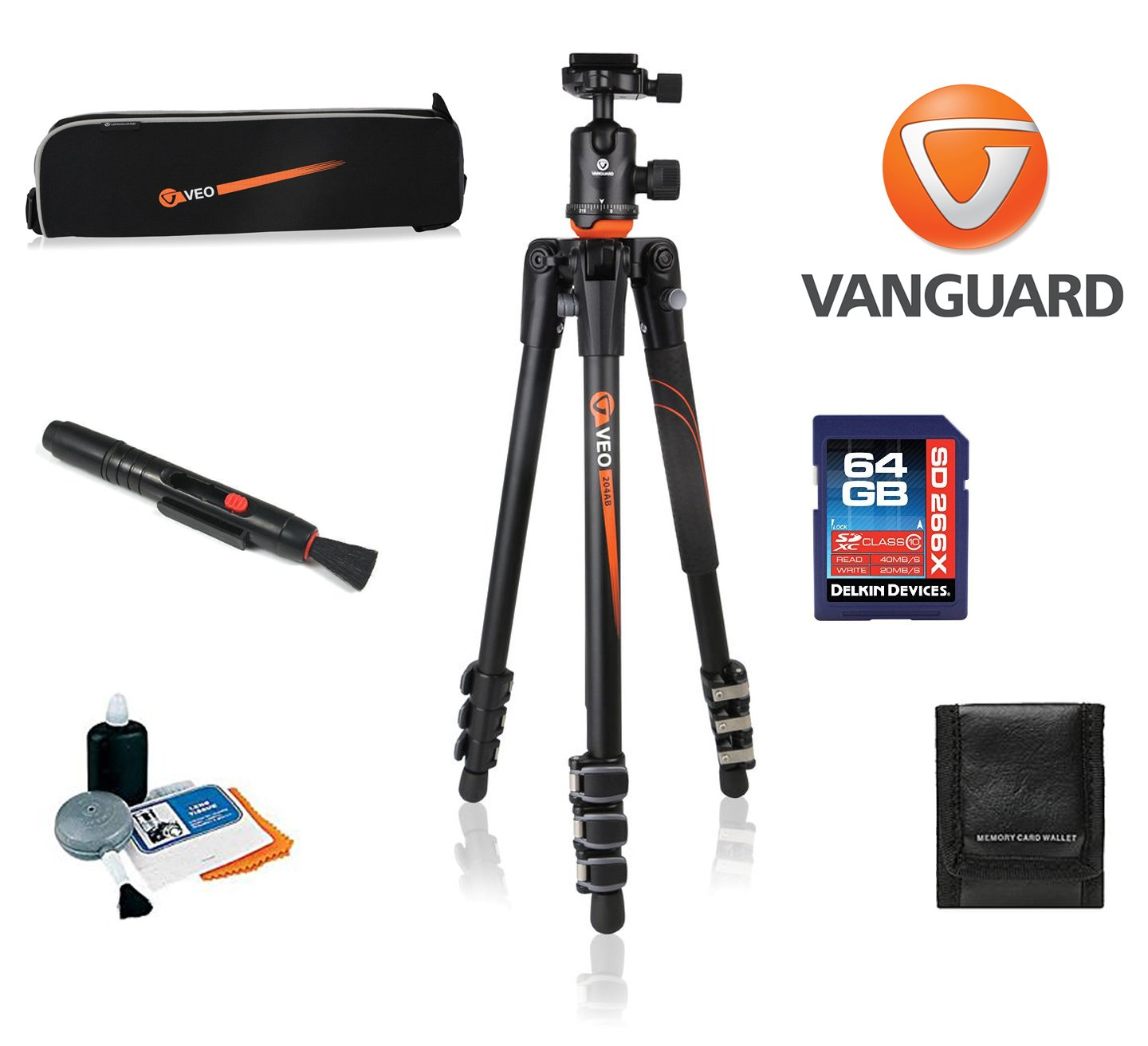 Vanguard VEO 204AB Aluminum Tripod with TBH-50 Ball Head W/ Vanguard Case, 64GB SDXC Card, Cleaning Kit, Lens Pen, Memory Card Wallet