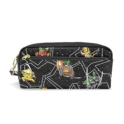 Amazon.com : Pencil Case Cute Fruit Ninja Black Leather Pen ...