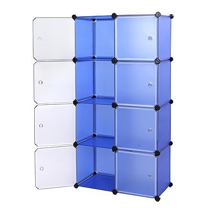 4a2a4b5cb253 Songmics Interlocking Storage Cube Organiser Shelf / Shoe Rack / Wardrobe  Cabinet 75 x 37 x 148 cm Blue LPC24Q