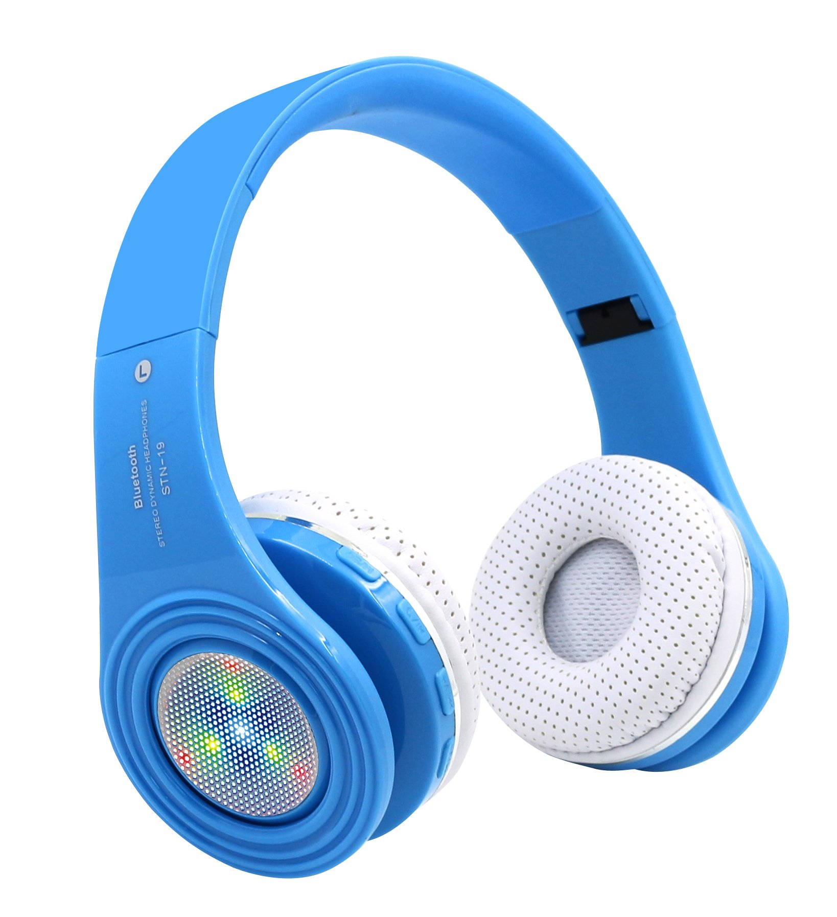 Kids Bluetooth Headphones Wireless, Children Over Ear Headset with Mic,Noise Cancelling Reduction, Foldable Ajustable Lightweight,for Cellphone Tablets PC iPad for Boy Girl-Blue