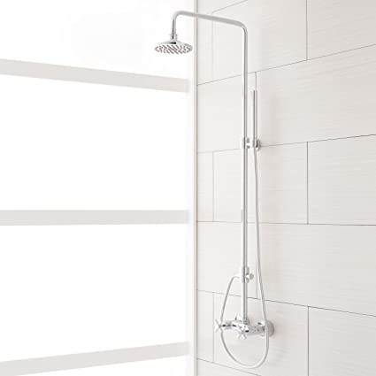 Naiture Brass Exposed Pipe Shower System With Rainfall Head And Hand  In Chrome Finish Amazon Com