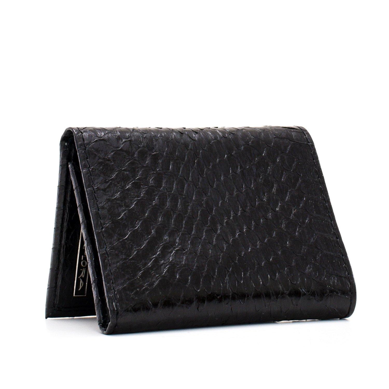Implora Genuine Cobra Snakeskin Leather Trifold Wallet Black