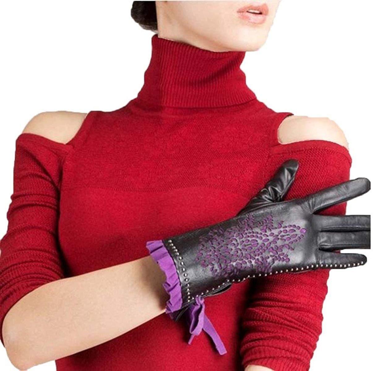 CWJ Women's Winter Warm Leather Gloves Short Classi Half Finger Super Warm Purple,Purple,Large