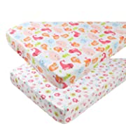 Pack n Play Playard Sheet Set 2 Pack 100% Jersey Knit Cotton Ultra Soft and Stretchy Portable Mini Crib Mattress Fitted Sheets for Baby Girl Boy Mermaid Whale Sea Lion and Other Animal by Knlpruhk…