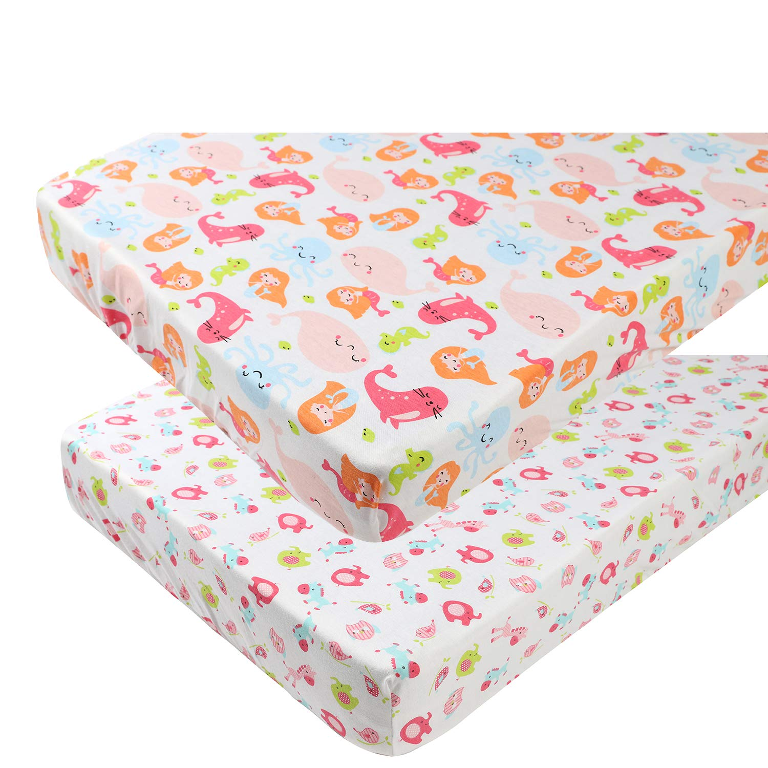 Pack n Play Playard Sheet Set 2 Pack 100% Jersey Knit Cotton Ultra Soft and Stretchy Portable Mini Crib Mattress Fitted Sheets for Baby Girl Boy Mermaid Whale Sea Lion & Other Animal by Knlpruhk