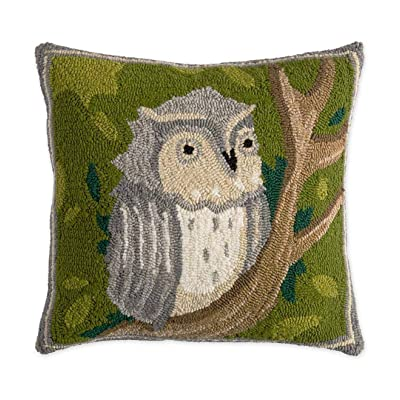 Plow & Hearth Indoor/Outdoor Springtime Forest Hooked Owl Pillow - 18 Sq: Home & Kitchen