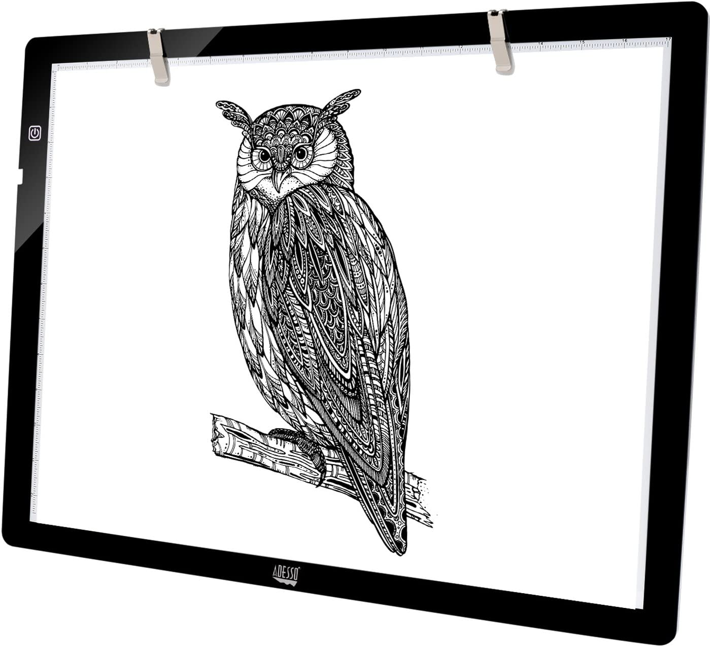 """Adesso CyberPad P2 12"""" x 7"""" LED Artcraft Tracing Light Pad/Box Artists Drawing Sketching X-ray Viewing Black, CYBERPAD_P2"""