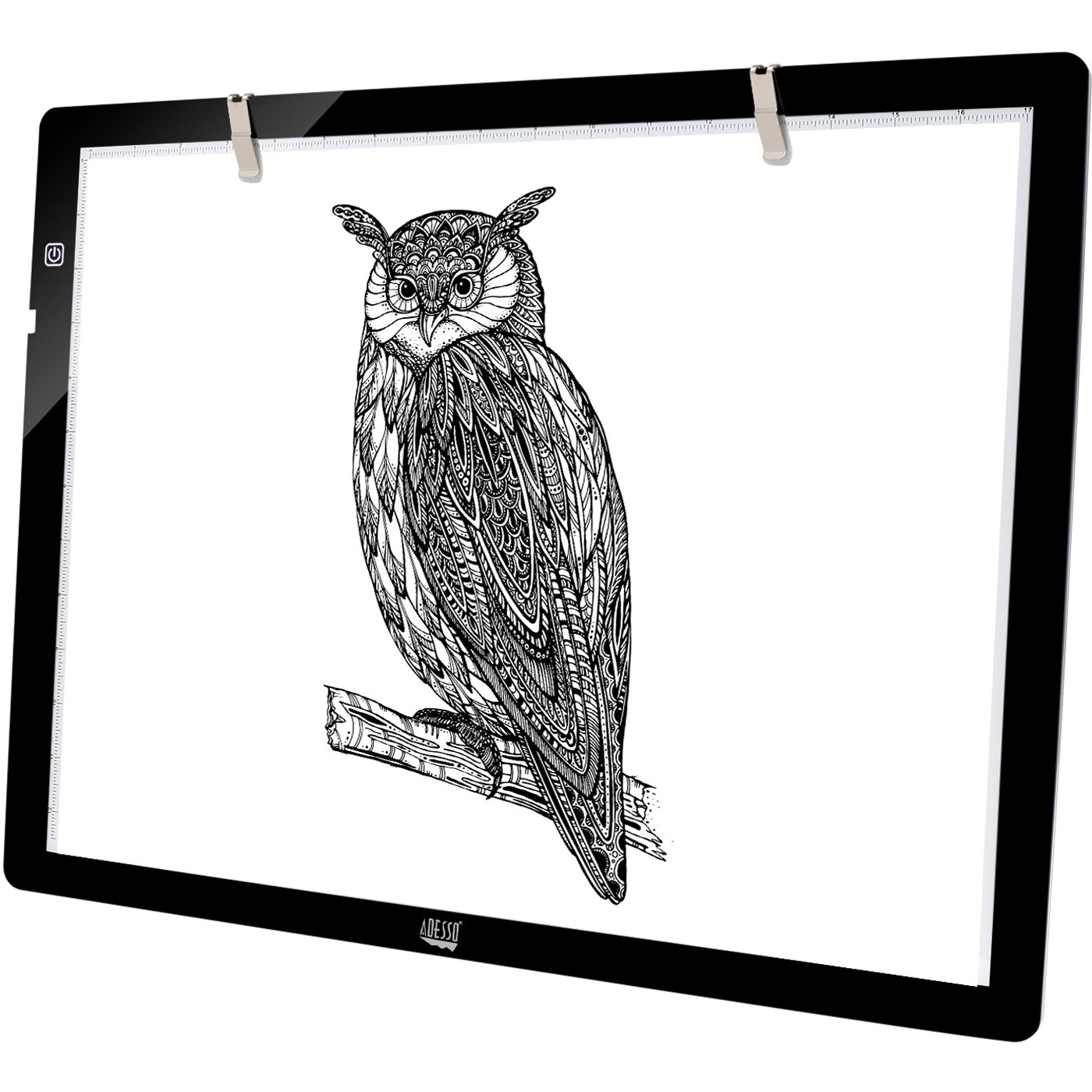 Adesso CyberPad P2 12'' x 7'' LED Artcraft Tracing Light Pad/Box Artists Drawing Sketching X-ray Viewing Black by Adesso