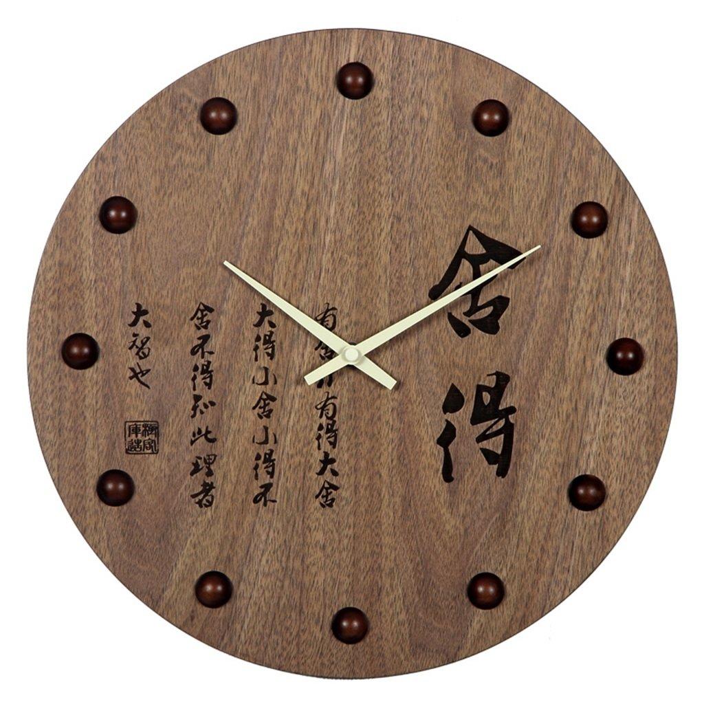 GRJH® 木製の壁時計、中国風レトロデザインミュートリビングルームオフィスクロックスクエアラウンドクラシッククロック34x34cm クリエイティブファッションシンプル ( 色 : #1 ) B07CMKJB2V #1 #1