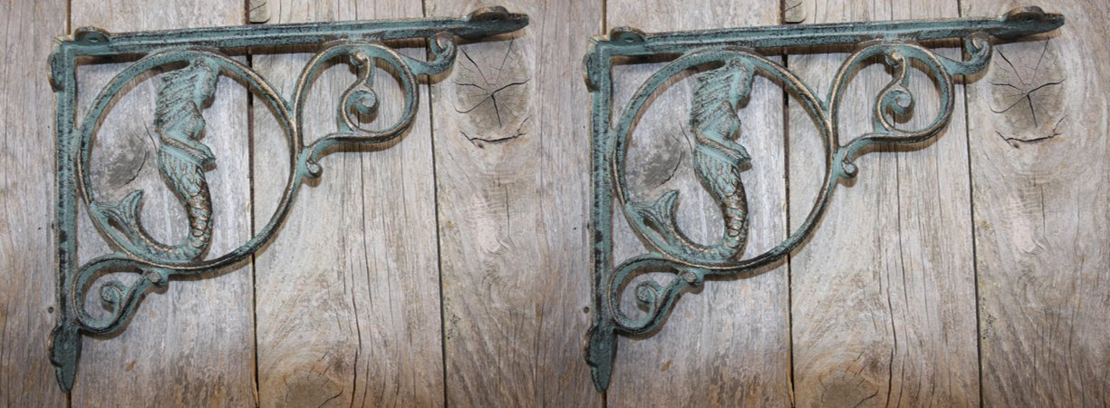Vintage-style Mermaid Wall Shelf Brackets Set of 2 by Cast Iron Home Decor Collectibles
