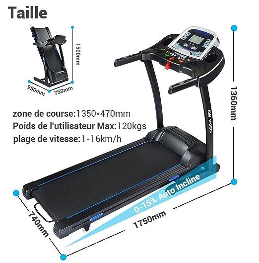 JDM Sports J30 Cinta de correr, plegado hidráulico, sistema de ...