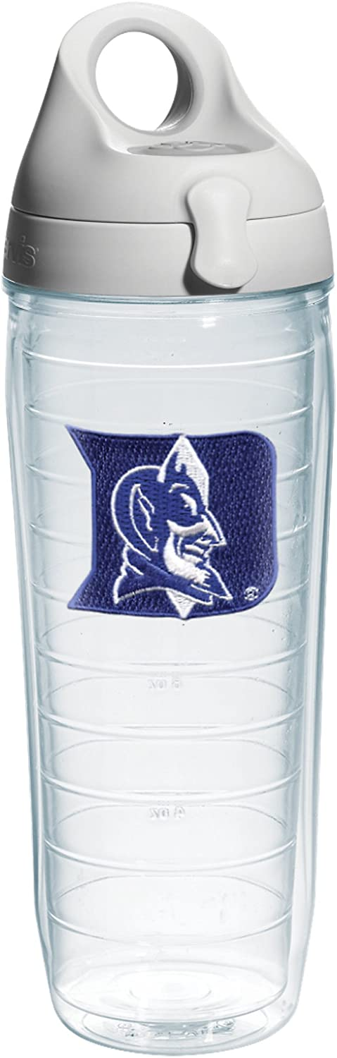 Tervis Duke University Emblem Individual Water Bottle with Gray lid, 24 oz, Clear