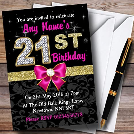 Pink Black Gold Diamond 21St Birthday Party Personalized Invitations