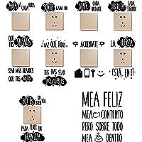 10pcs Pegatinas Pared Frases Españoles para Interruptor de Luz Enchufes Vinilos Aseo Lavabo Baño Stickers Retrete…