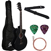 Juarez Acoustic Guitar, 38 Inch Curved Body Cutaway, 38CUR with Bag, Strings, Pick and Strap, Black