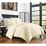 Zen Bamboo Ultra Soft 3-Piece Bamboo Derived Rayon Duvet Cover Set -Hypoallergenic and Wrinkle Resistant - King/Cal King - Cream