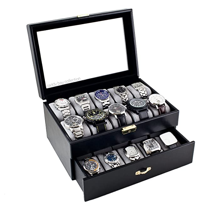 amazon com caddy bay collection black classic watch case display amazon com caddy bay collection black classic watch case display box clear glass top holds 20 watches microfiber cleaning cloth watches