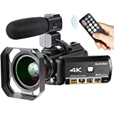 4K Camcorder, Ansteker Ultra-HD 1080P 24MP 30FPS Digital WiFi Video Camera, IR Night Vision Camcorder with Microphone and Wide Angle Lens,Lens Hood (Black+Lens)