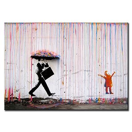 Amazon.com: DINGDONGART- Colorful Rain Wall Art Painting Modern ...