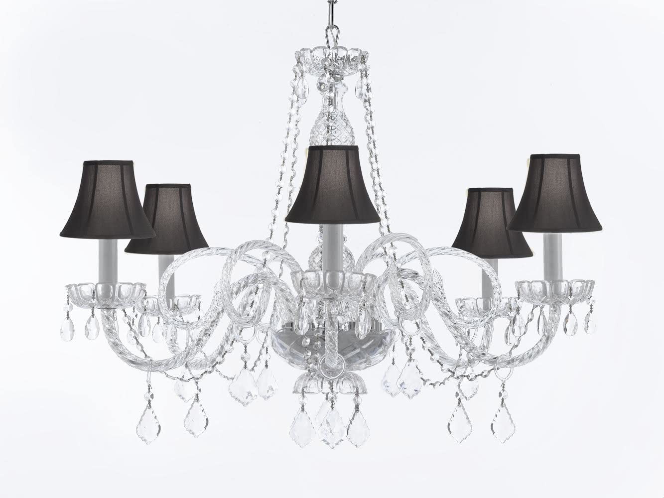 Crystal Chandelier Chandeliers Lighting with Black Shades H27 x W32
