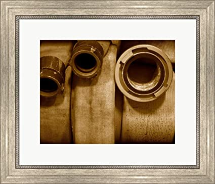 Amazon com: Fire Hose Supply Framed Art Print Wall Picture, Silver