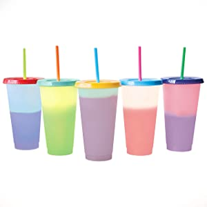 Color Changing Cold Drink Cups: 24oz Blank Cold Cups - 5 Reusable Cups, Lids and Straws - Summer Coffee Tumblers - Summer Cups, Set of 5 (Tropical)