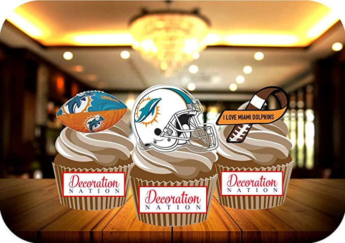Miami Dolphins Birthday Party Icing Edible Cake Topper 1//4 sheet