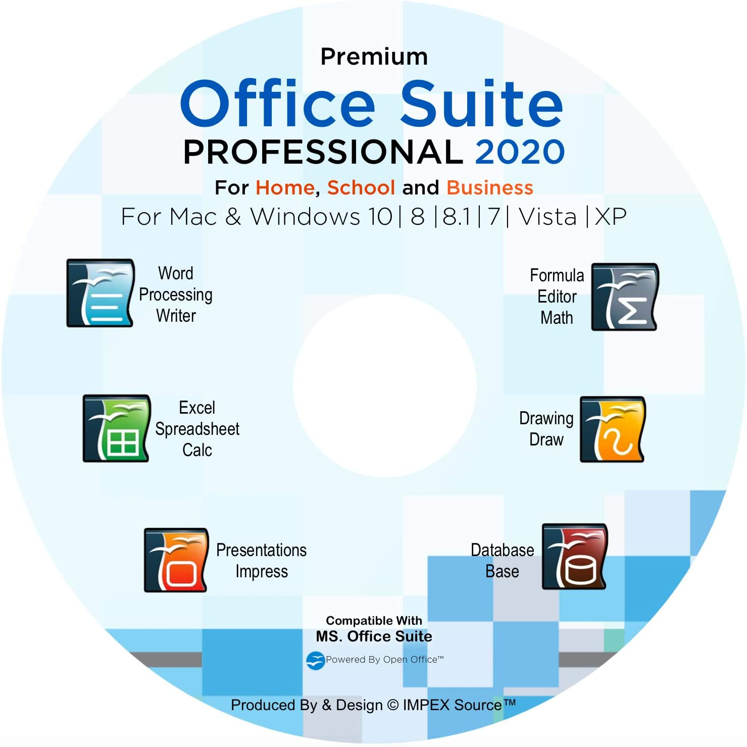 Office Suite 2020 Professional Edition CD DVD 100% compatible with Microsoft® Word® and Excel® for Windows 10-8-7-Vista-XP Mac OS X Produced By IMPEX Source