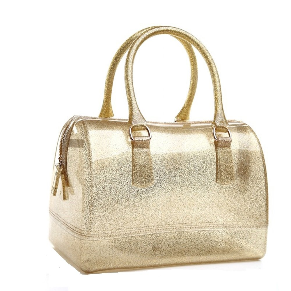 Ladies Summer Jelly Pillow-shaped Top Handle Handbag Candy Color Transparent Crystal Purse (Shining Gold)