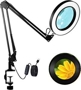 """GEYOTAR LED Magnifying Lamp Light with Clamp,Magnifier Desk Lamp,3 Colors Modes 10 Brightness Stepless Dimming,4.1"""" 3X Magnifying Glass and Adjustable Swing Arms for Reading Hobby,Close Work Craft"""
