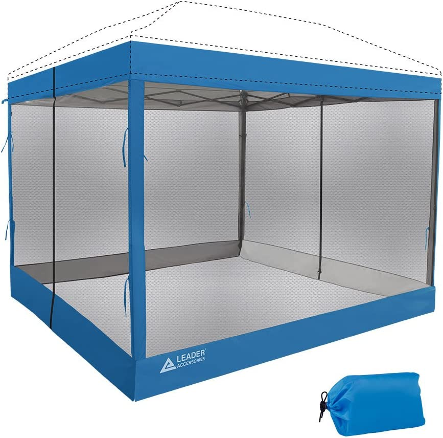 Leader Accessories Mesh Screen Zippered Wall Panels for 10' x 10' Canopy (Tent Walls Only, Frame and Top Not Included) (Blue mesh Wall)