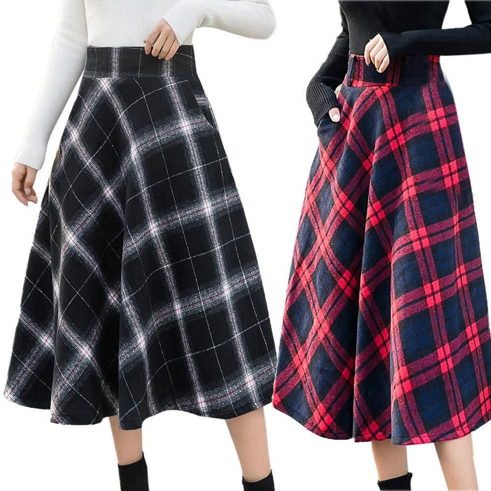 84f4eedca3 WOZOW Womens High Waist A-line Midi Plaid Casual Woolen Skirt Long Check  Print Wool Skirt: Amazon.co.uk: Clothing