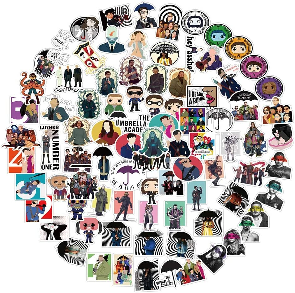 LZWNB The Umbrella Academy Stickers Serie de televisi/ón Personaje de Dibujos Animados Anime Imagen Etiqueta de Juguete para port/átil Tel/éfono Skateboard Moto Car 100 Uds