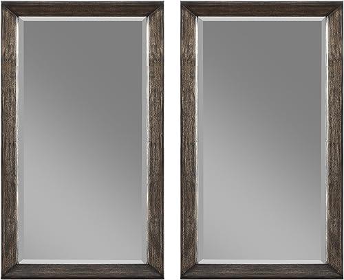 Emerald Home Furnishings Millenium twin dresser mirrors, Standard, weathered oak