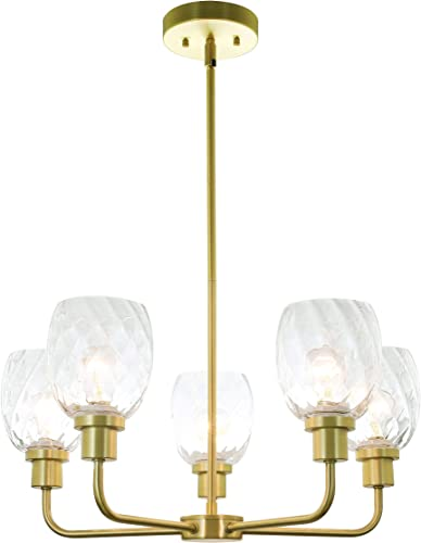 XiNBEi Lighting Chandeliers, Brass Chandelier 5 Light, Pendant Lights with Glass for Living Dining Room XB-C1210-5-SB