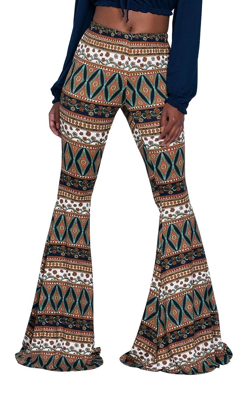 WFTBDREAM Women Boho Print Palazzo Pants Stretch Bell Bottom High Waist Trousers S-XL