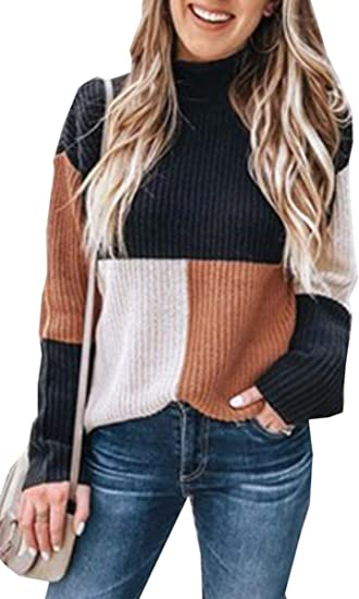 Angashion Women Sweaters Oversized Chunky Knit Color Block Drop Shoulder Batwing Sleeve Pullover Sweater Tops