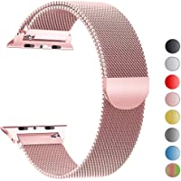 Robotekno Apple Watch Kordon 38mm 40mm, Metal Kayış Milano Kordon 1 | 2 | 3 | 4 | 5 (38mm/40mm, Pembe)