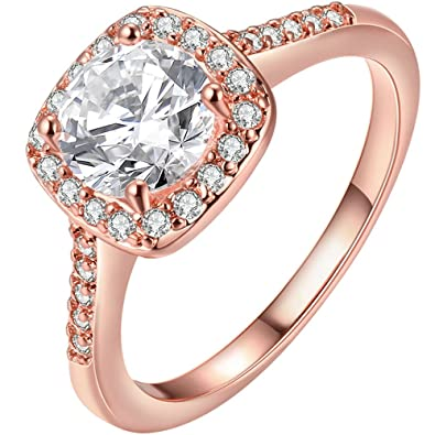 LWLH Jewelry Womens 18K Rose Gold Plated Princess Cut Square Solitaire  White CZ Promise Ring Wedding 9e585cff9