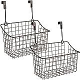 Nicunom 2 Pack Grid Storage Baskets with Hooks, Over Cabinet Door Organizer, Wire Basket Hanging Storage Organizer Steel Wire